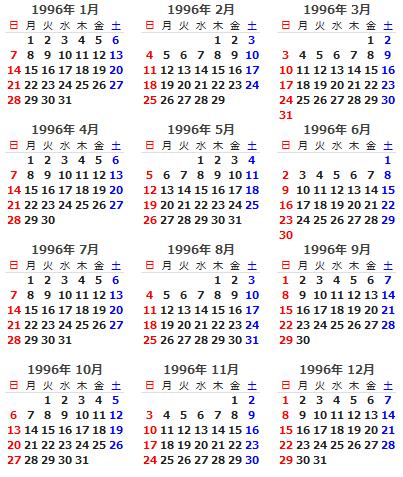 1996年 カレンダー