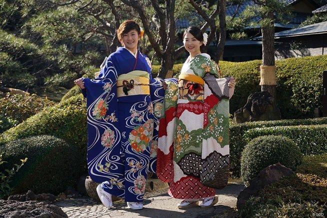 成田美寿々&菊地絵理香 振り袖姿で2018年の誓い