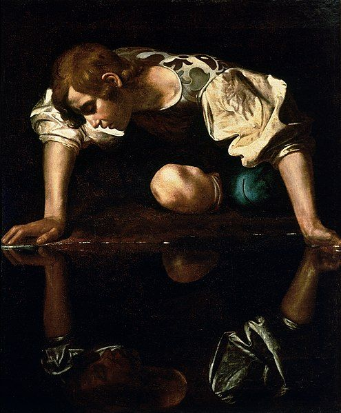 495px-Narcissus-Caravaggio_(1594-96)_edited