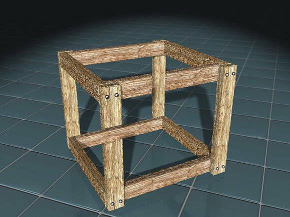 四角い骨格した箱型のだまし絵