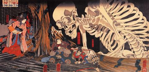 Mitni_defying_the_skeleton_spectre_invoked_by_princess_Takiyasha