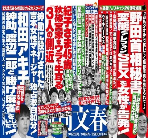 週刊文春20110922和田アキ小賭け麻雀、野田総理秘書変態SEX(小)
