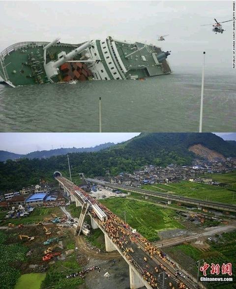 中国高速鉄道脱線事故、韓国フェリー沈没