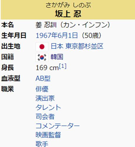 坂上忍がWikipediaで在日韓国人と編集される