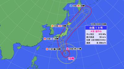 台風19号進路予報