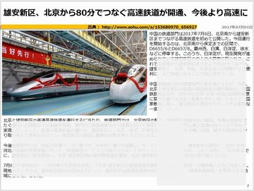 雄安新区、北京から80分でつなぐ高速鉄道が開通、今後より高速にのキャプチャー
