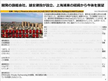 開発の旗艦会社、雄安建投が設立、上海浦東の経緯から今後を展望のキャプチャー