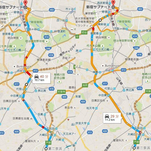 新宿から五反田、品川、第二京浜...