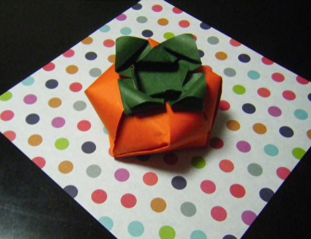 すべての折り紙 折り紙 立体 簡単 : 柿の立体折り紙の動画があった ...