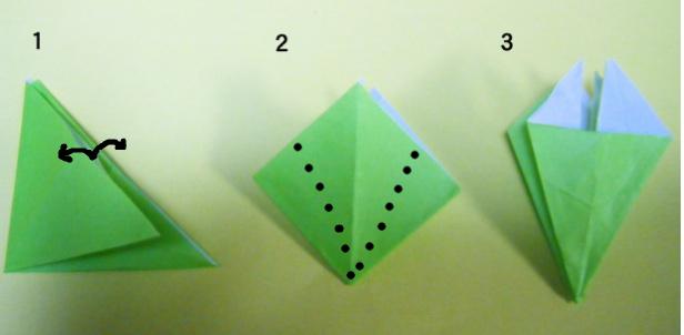 2回、三角に折り正方形に ... : サンタクロース 折り紙 : すべての折り紙