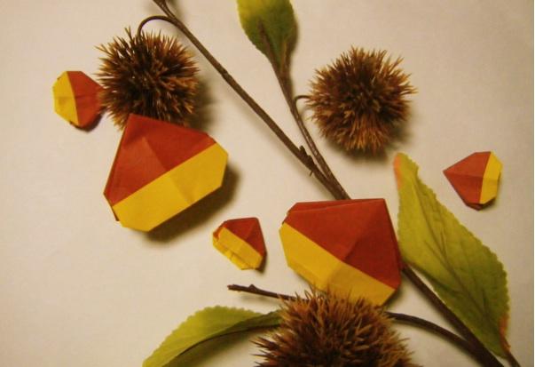 すべての折り紙 折り紙果物の折り方 : ... 破片:《折り紙・ 栗の折り方
