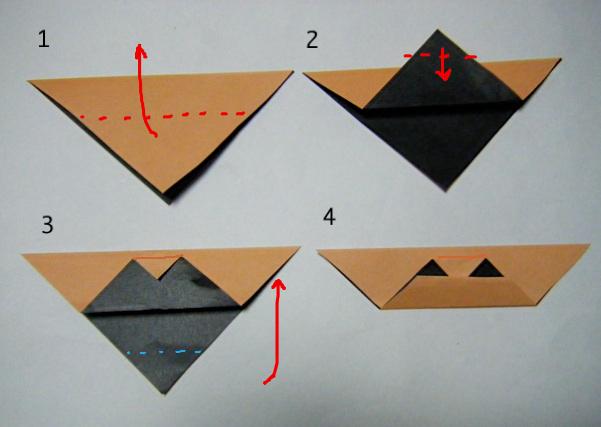 すべての折り紙 折り紙 帽子 立体 : 1 折り紙を半分の三角に折る