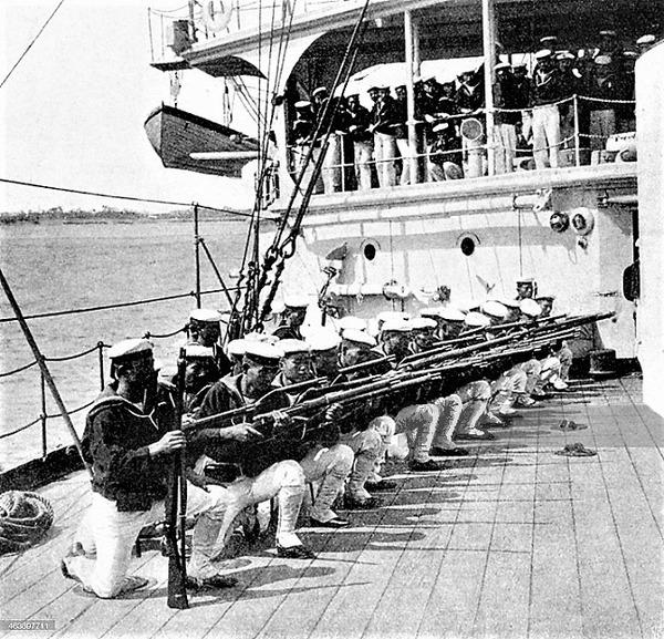 (((戦艦「ミカサ」に乗船した日本海兵隊