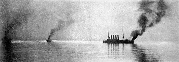 (((1Variagr仁川沖海戦で炎上するロシア艦右がヴァリャーグ_1904