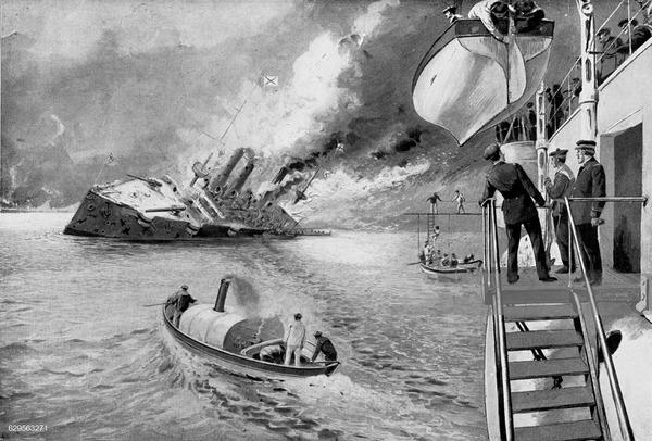 ((を救出した仏の巡洋艦「パスカル」
