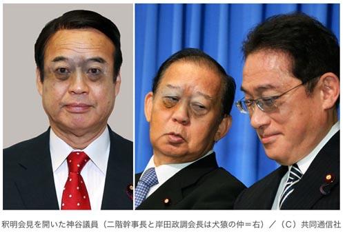 釈明会見を開いた神谷議員(二階幹事長と岸田政調会長は犬猿の仲