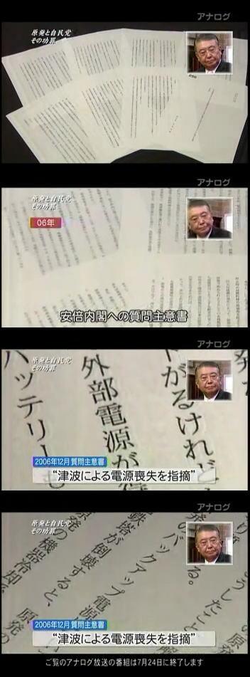 安倍内閣への質問主意書津波福島