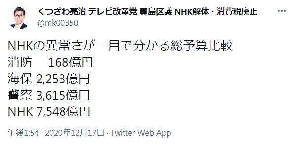 NHKの異常さが一目で分かる総予算比較