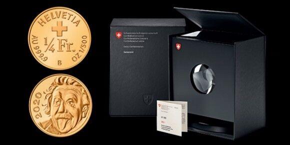 直径3ミリ。スイス造幣局が世界最小の記念金貨を発行、表にはアインシュタインの顔