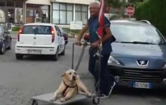 足腰の不自由な犬を台車で散歩させるおじいさんにイタリア全土が感動