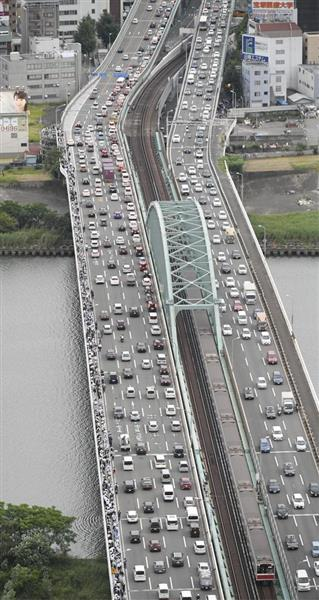 【自粛要請】真備町と周辺を結ぶ道路では、朝から激しい渋滞 ...