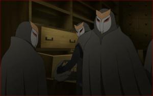 アニメBORUTO44話、白夜団の質屋強盗、遅れて駆けつけたリョウギ-min
