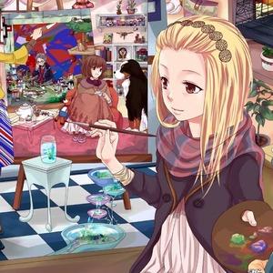 アニメ、女の子、ペイント、画家、絵画、アート-2048x2048