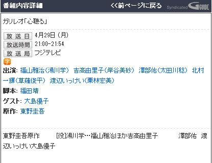 【速報】AKB48大島優子ガリレオに出演決定