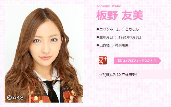 AKB48板野友美が総選挙立候補!