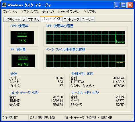 Windowsタスクマネージャ画面