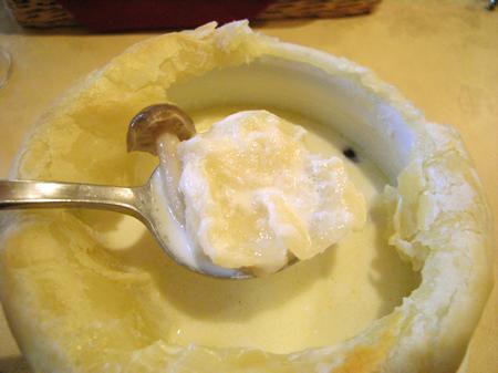 木の子パイ、クリームスープ