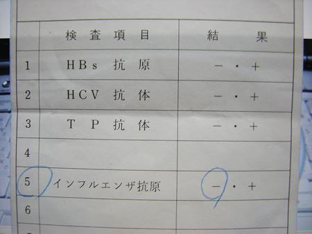 インフルエンザ 血清学検査結果