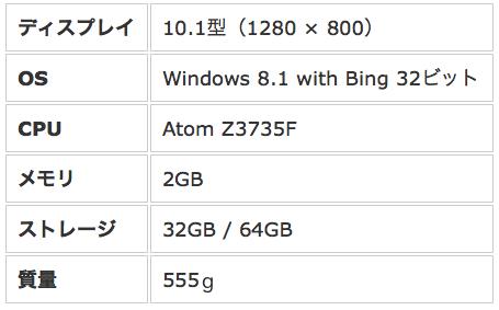 dynabook tab s38スペック表