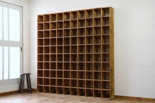 A6895古い木味の薄型マス目棚2 アンティーク飾り棚陳列棚