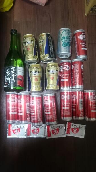 賞味期限切れ/プレミアムモルツなど15缶&天下の台所特別純米酒