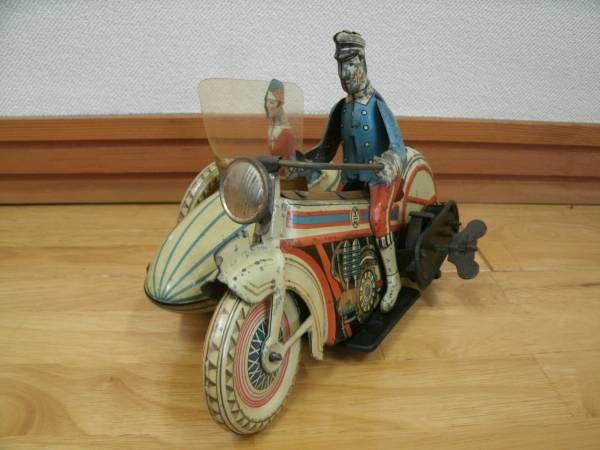 メーカー不明 戦前 日本製 ブリキ サイドカー バイク オートバイ おもちゃ