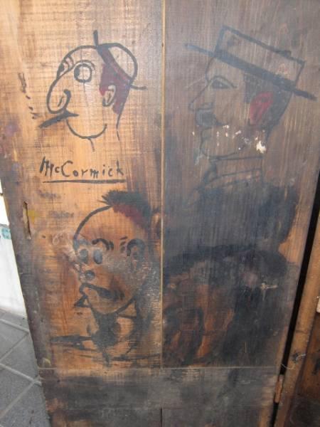 20'S 30'S アンティーク ビンテージ 棚 木箱 ペイント インダストリアル USA US アメリカ製 WOODBOX カートゥーン シェルフ