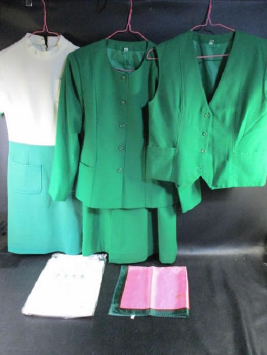 ◆三和銀行 制服 6点セット◆もりはなえ 銀行員 事務 女子行員 女子制服 レディース レア 人気 希少 緑 スーツ♪即決時送料無料有2f-1