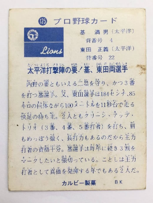 J-10●1円〜 超激レア!!! カルビー製菓 プロ野球カード 1973年 No.125 九州限定 地方版 〈基 満男・東田正義〉 太平洋打撃陣の要!