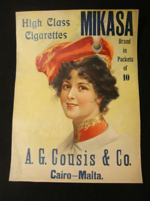 蔵出し/古い煙草ポスター MIKASA 三笠 A.G Cousis of Cairo-Malta 明治大正戦前
