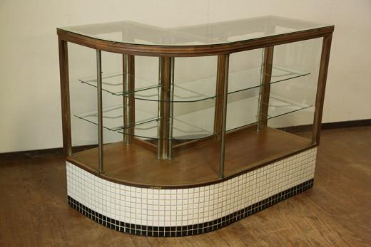 アンティーク 古いタバコ屋さんのR型タイルガラスケース L字型/ショーケース/レジカウンター/店舗什器