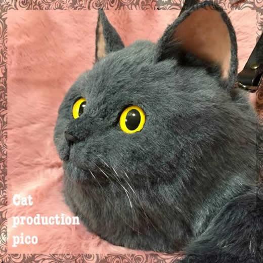 pico 猫 ショルダーバッグ ハンドメイド リアル ネコ バッグ