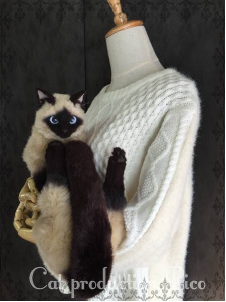 猫製作pico シャム猫 襟巻き マフラー リアル ネコ ハンドメイド