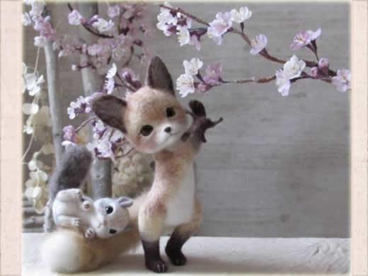 キツネとモモンガ 羊毛フェルト ハンドメイド 桜