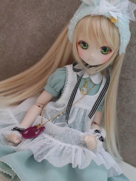 【DOLCHU】DDH-01カスタムヘッド(SW肌)+MDDサイズうさぎアリス衣装セット
