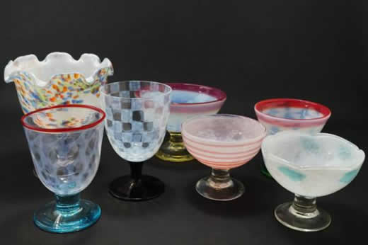 725☆昭和 氷コップ 7点set 気泡 和ガラス 赤縁 市松模様 レトロ