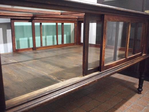 昭和レトロ■古い木のガラスケース 収納棚■駄菓子屋 古着屋