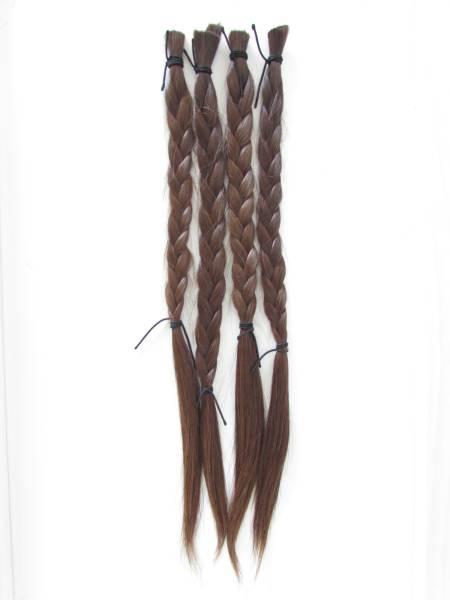 髪の毛 髪束 人毛 � (茶髪・三つ編み)