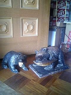 ヤフオク 出品 1円スタート! 熊の木彫り2体セット