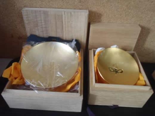 未使用◆金杯 2個 宮城県 桐箱入り 直径13.5&10� 送600円~